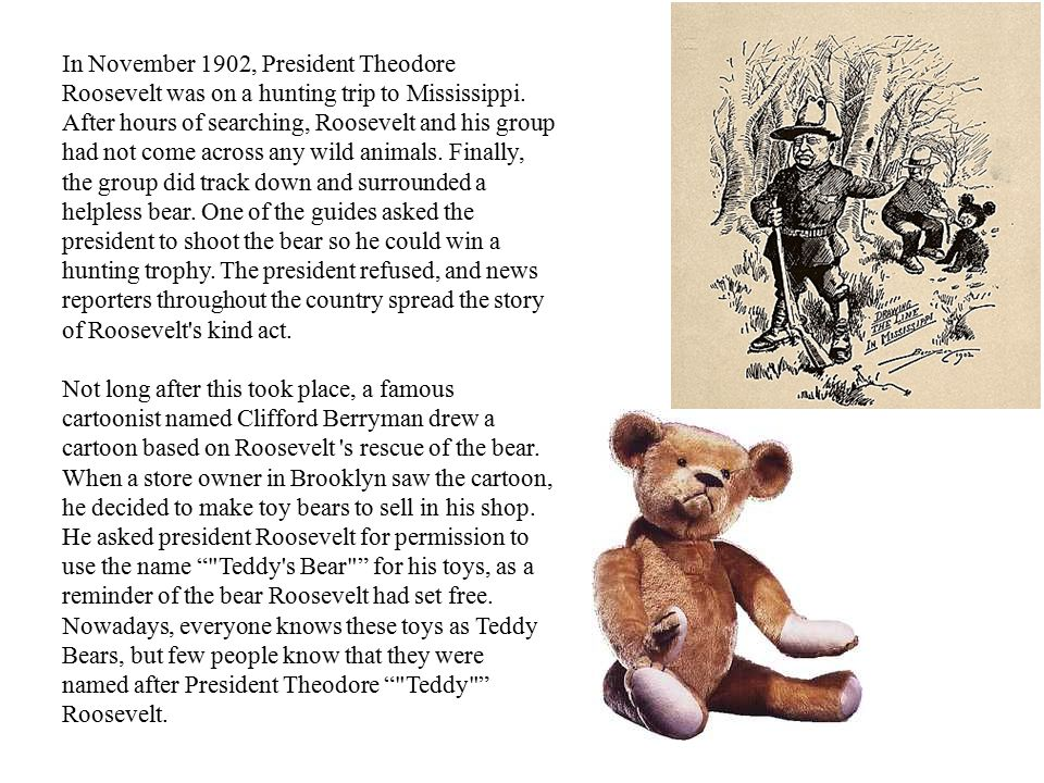 In November 1902, President Theodore Roosevelt was on a hunting trip to Mississippi. After hours of searching, Roosevelt and his group had not come across any wild animals. Finally, the group did track down and surrounded a helpless bear. One of the guides asked the president to shoot the bear so he could win a hunting trophy. The president refused, and news reporters throughout the country spread the story of Roosevelt s kind act.