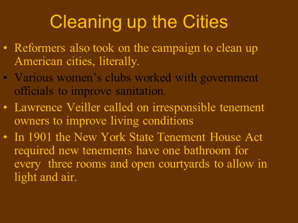 Cleaning up the Cities Reformers also took on the campaign to clean up American cities, literally.