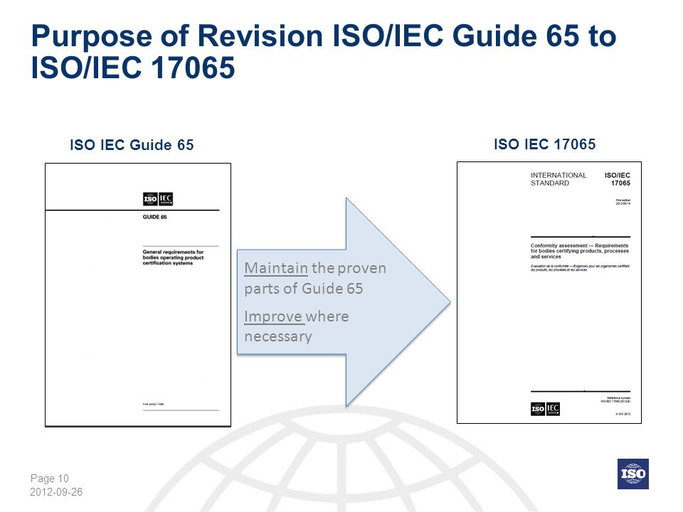 Purpose of Revision ISO/IEC Guide 65 to ISO/IEC 17065