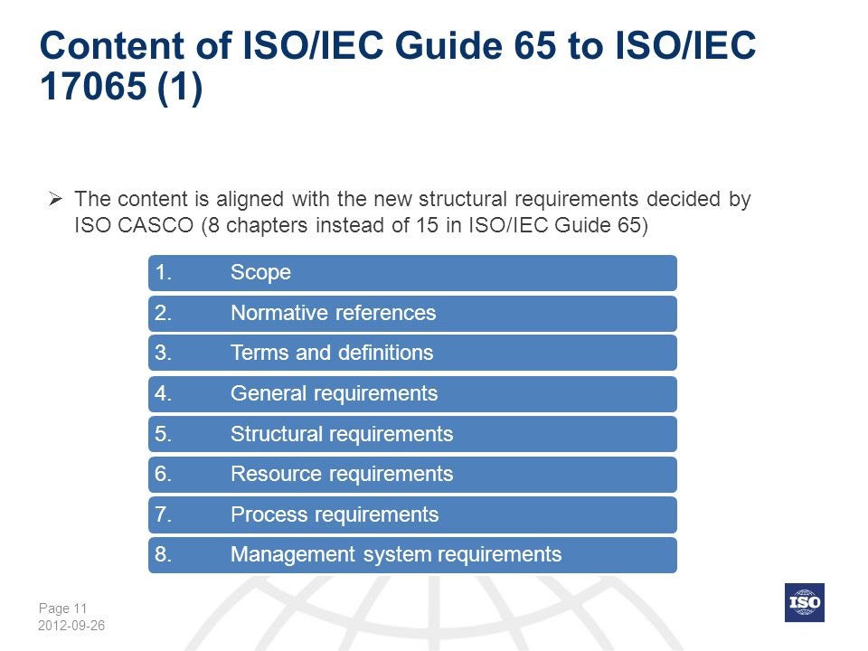 Content of ISO/IEC Guide 65 to ISO/IEC 17065 (1)