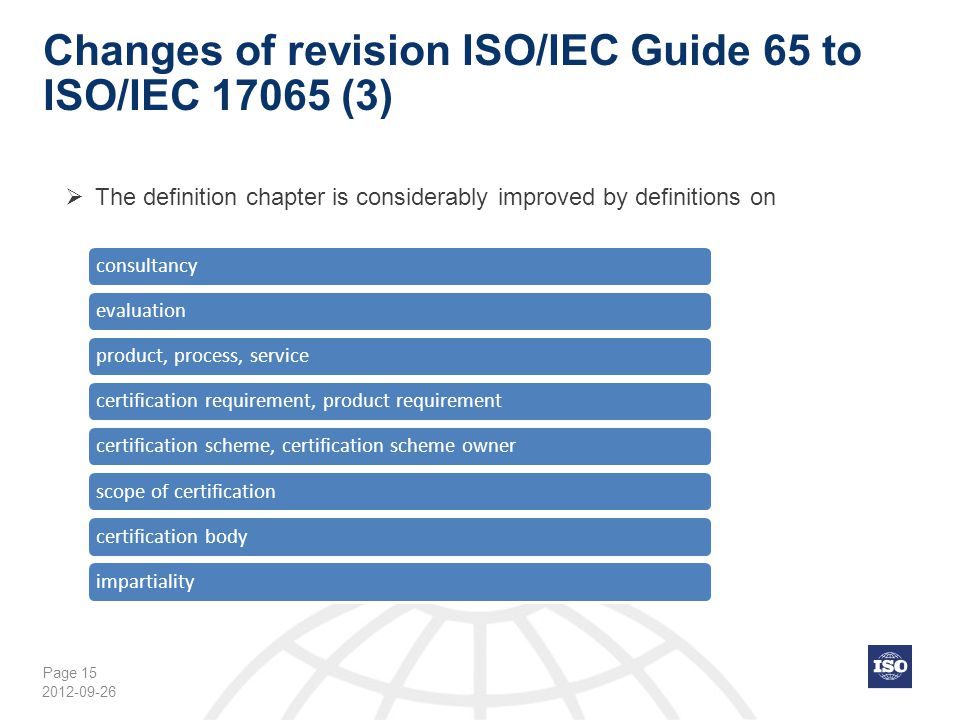 Changes of revision ISO/IEC Guide 65 to ISO/IEC 17065 (3)