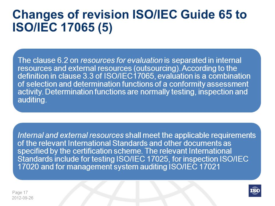 Changes of revision ISO/IEC Guide 65 to ISO/IEC 17065 (5)