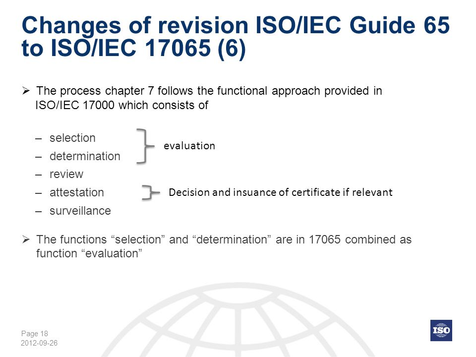 Changes of revision ISO/IEC Guide 65 to ISO/IEC 17065 (6)