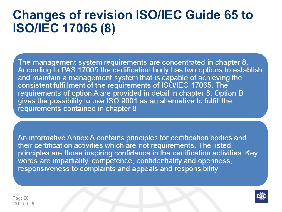 Changes of revision ISO/IEC Guide 65 to ISO/IEC 17065 (8)