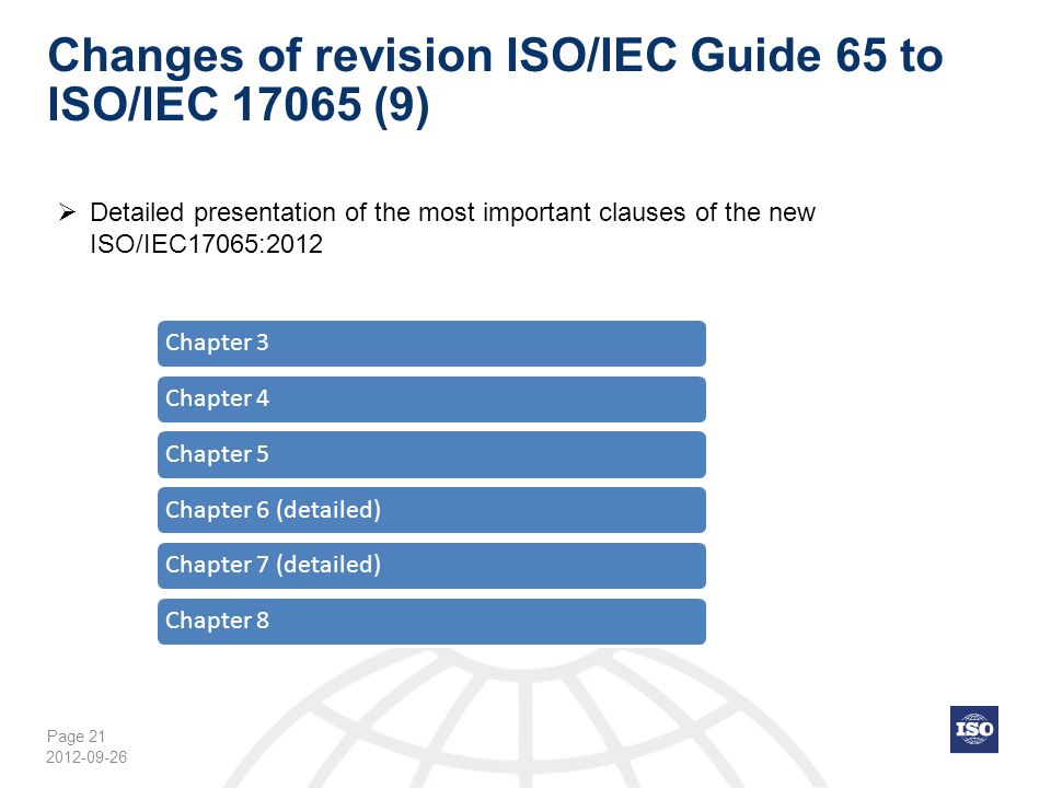 Changes of revision ISO/IEC Guide 65 to ISO/IEC 17065 (9)