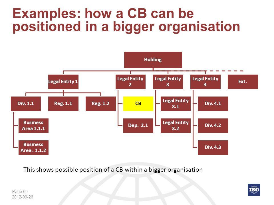 Examples: how a CB can be positioned in a bigger organisation