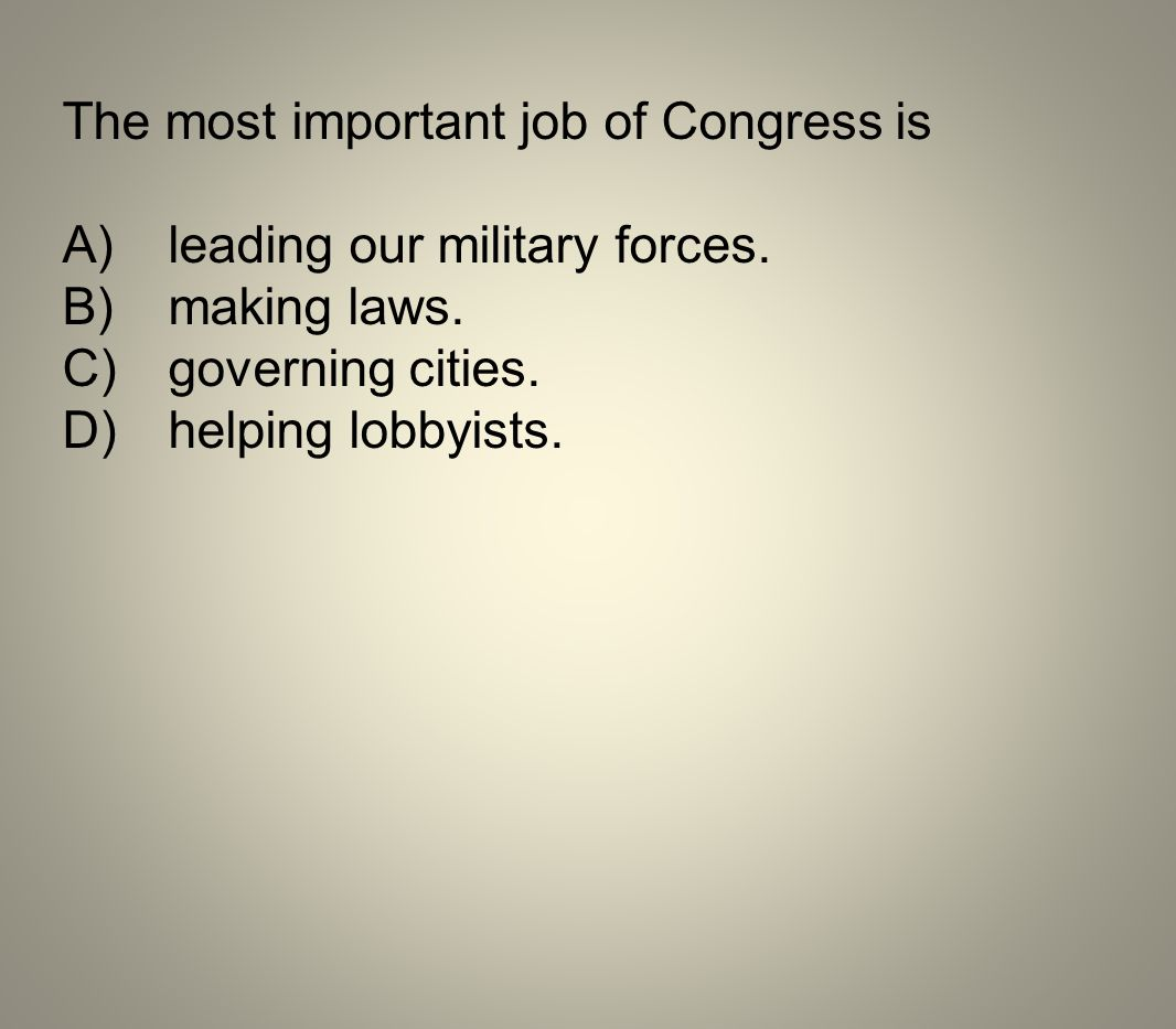 The most important job of Congress is