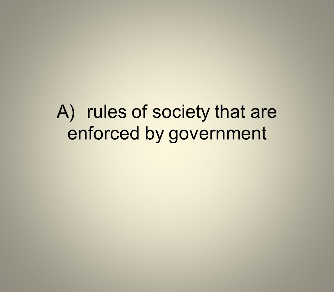 A) rules of society that are enforced by government