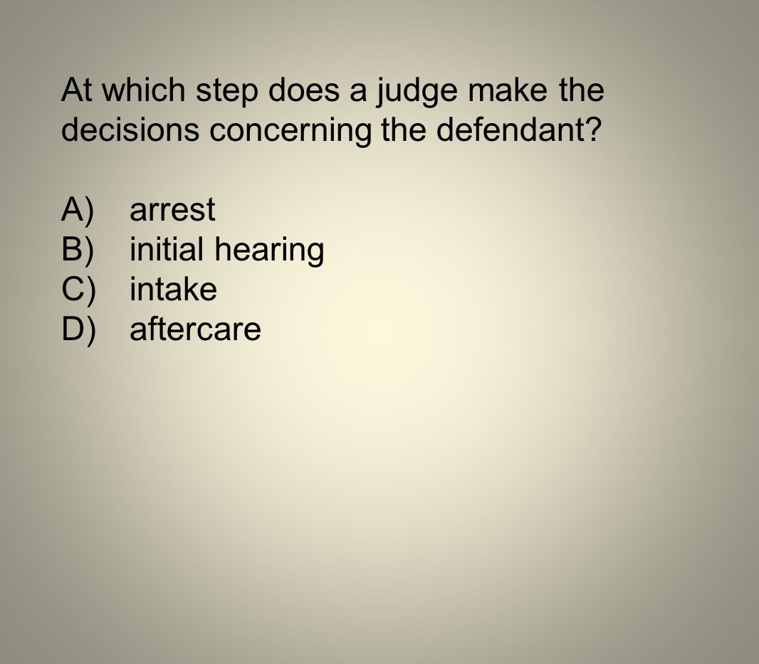 At which step does a judge make the
