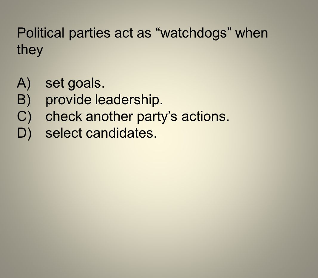 Political parties act as watchdogs when they