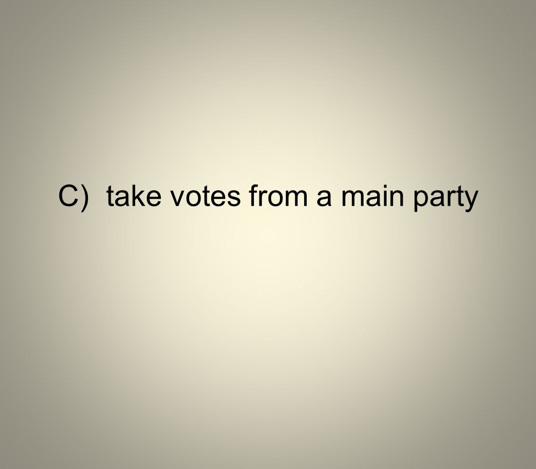 C) take votes from a main party