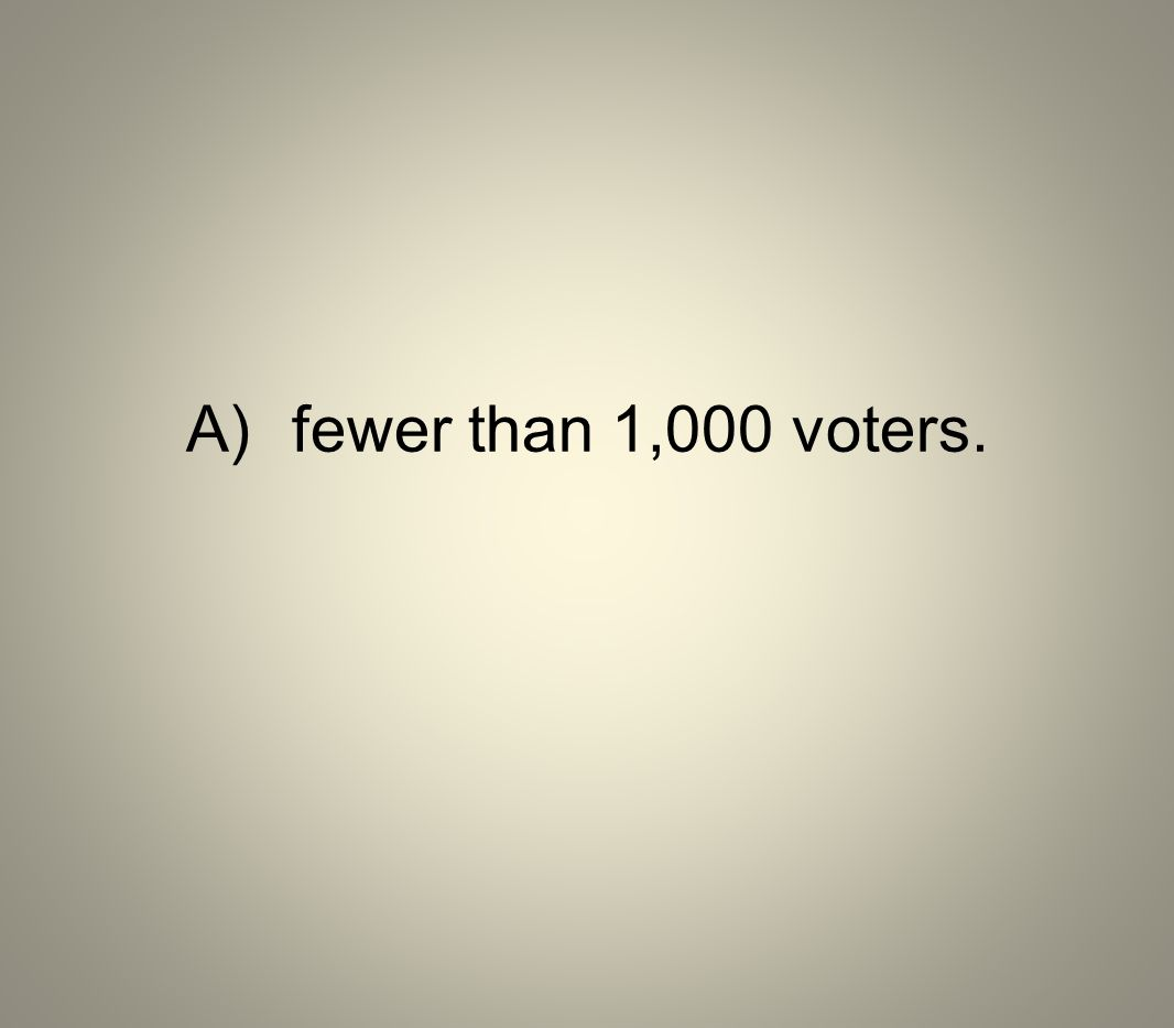 A) fewer than 1,000 voters.