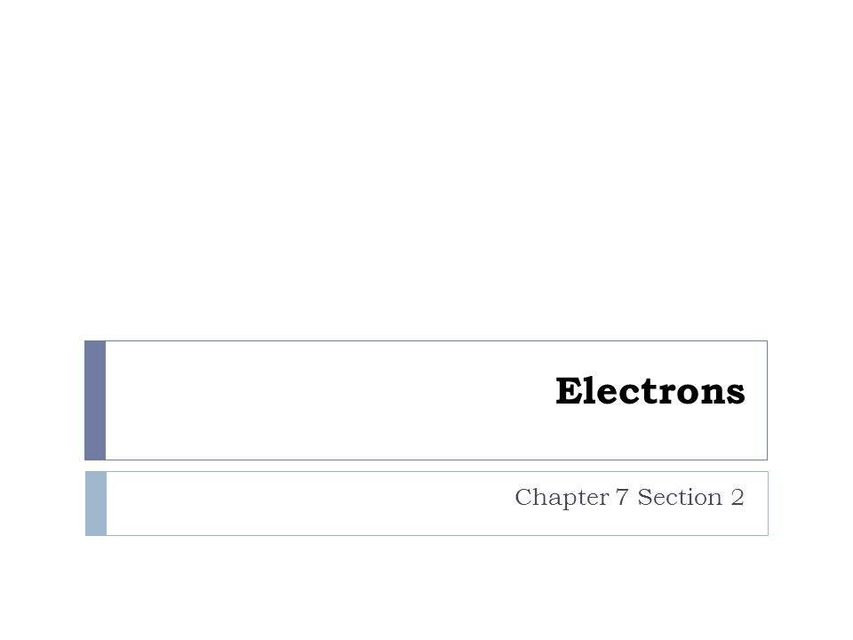 Electrons Chapter 7 Section 2