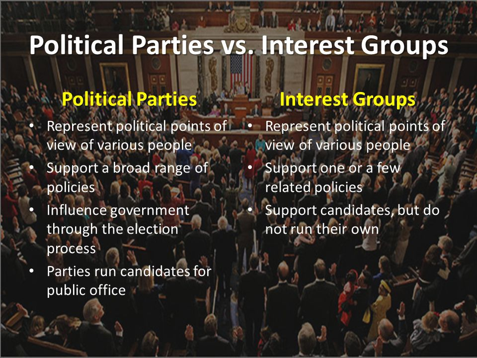 Political Parties vs. Interest Groups