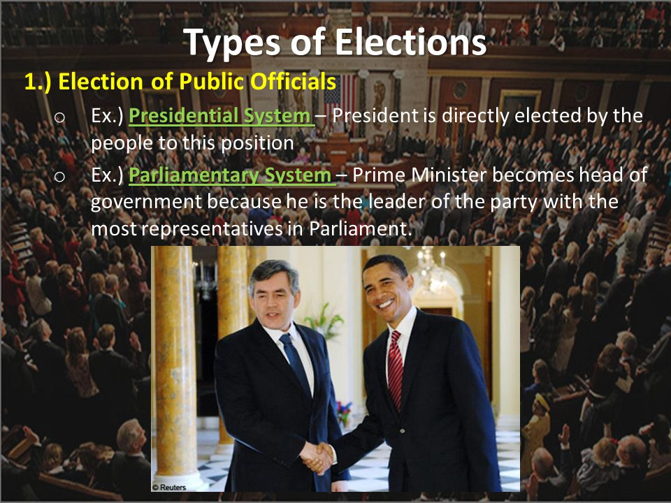 Types of Elections 1.) Election of Public Officials