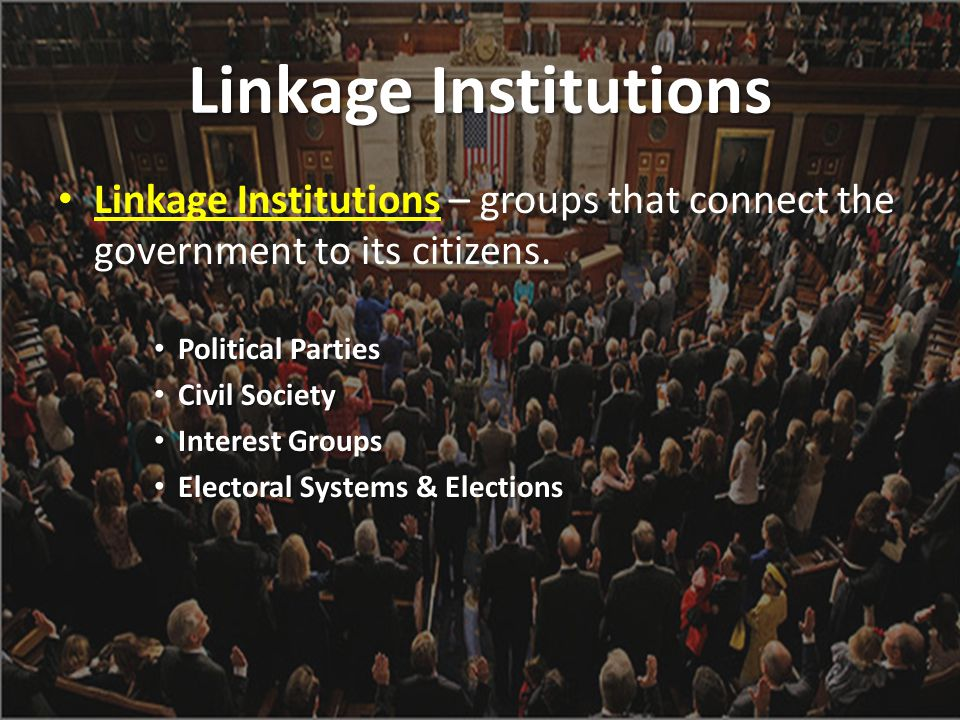 Linkage Institutions Linkage Institutions – groups that connect the government to its citizens. Political Parties.