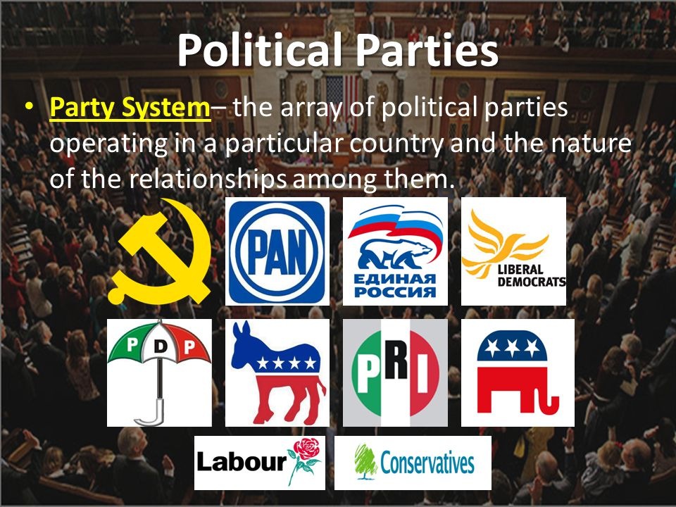 Political Parties Party System– the array of political parties operating in a particular country and the nature of the relationships among them.