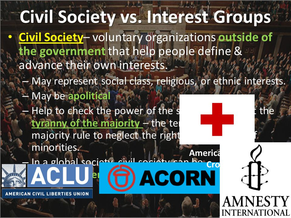 Civil Society vs. Interest Groups