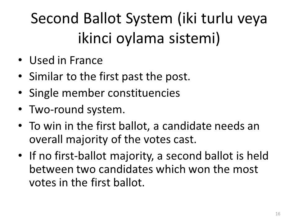 Second Ballot System (iki turlu veya ikinci oylama sistemi)