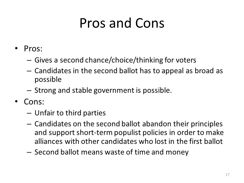 Pros and cons of indias vote