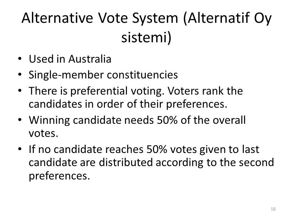 Alternative Vote System (Alternatif Oy sistemi)