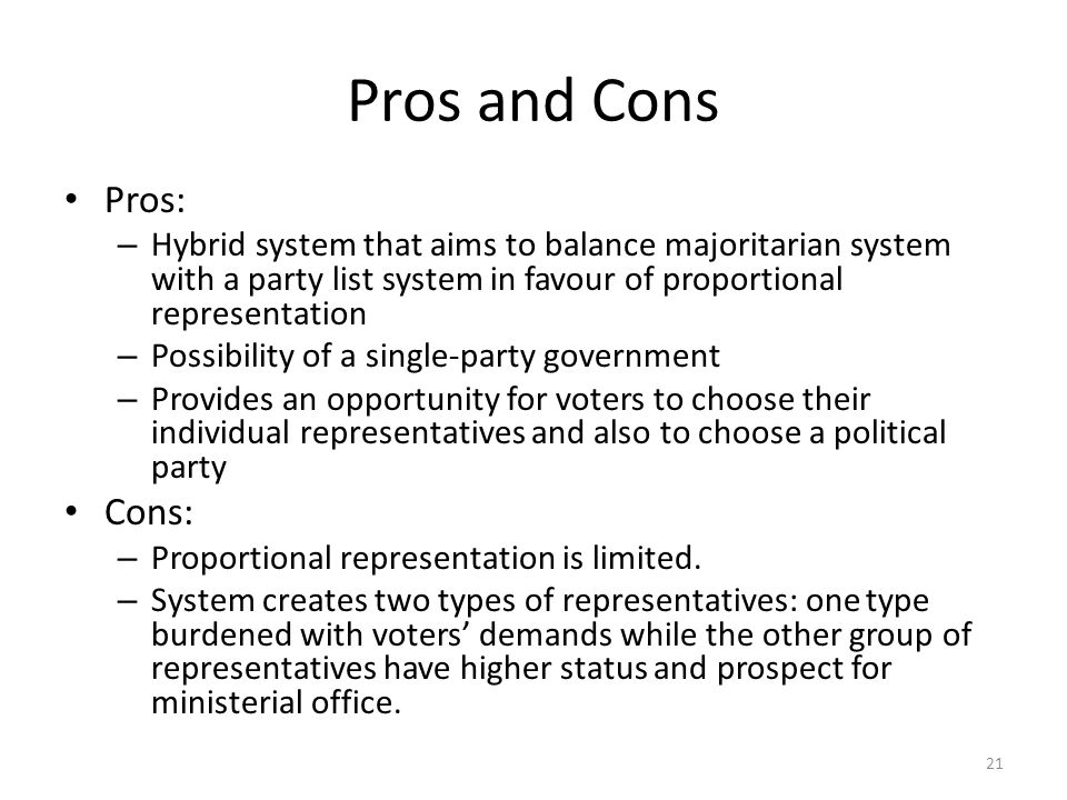 The pros and cons of proportional representation system