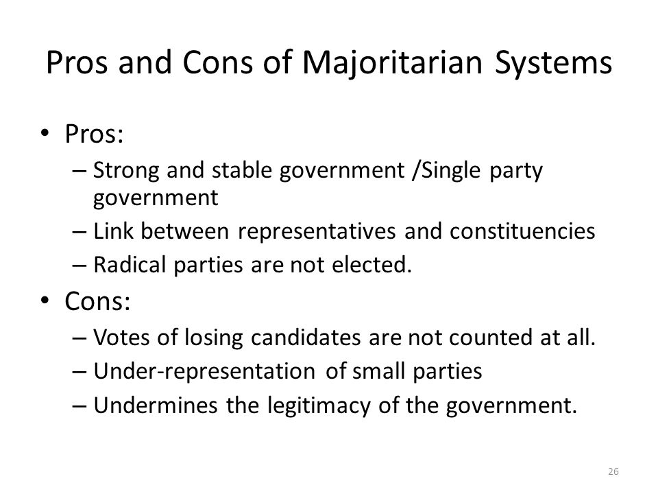 the pros and cons of proportional representation in the government Parliamentary systems should implement proportional representation jd12: the pros and cons of proportional representation in western liberal democracies.
