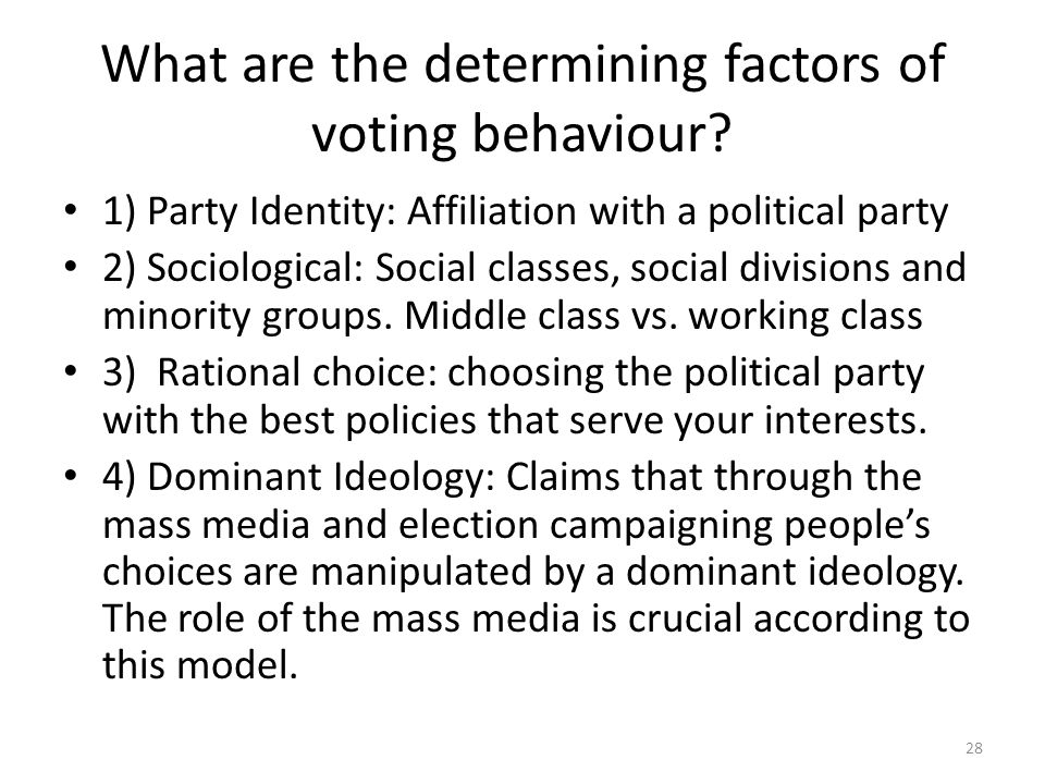 What are the determining factors of voting behaviour