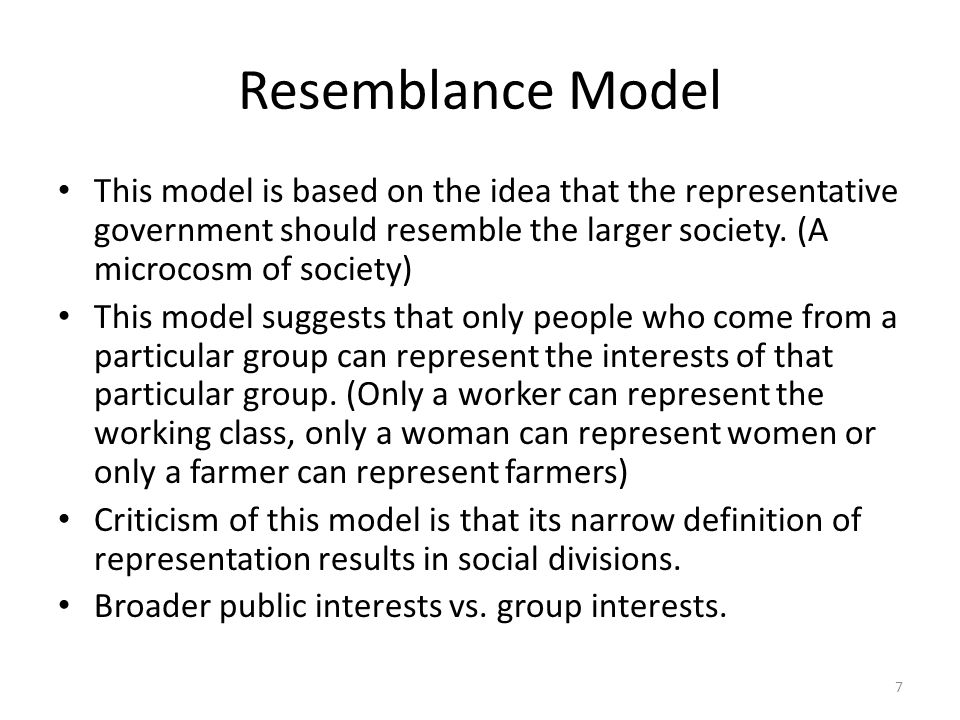 Resemblance Model This model is based on the idea that the representative government should resemble the larger society. (A microcosm of society)