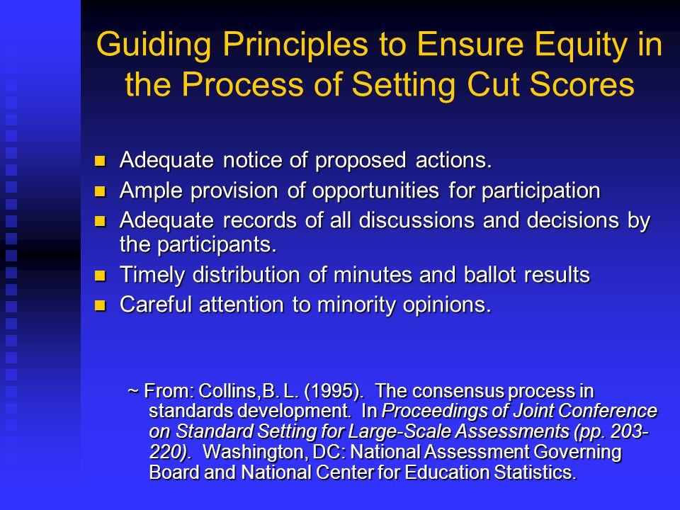 Guiding Principles to Ensure Equity in the Process of Setting Cut Scores