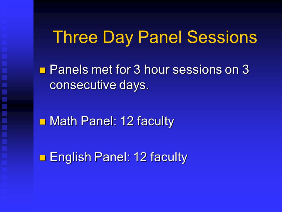 Three Day Panel Sessions