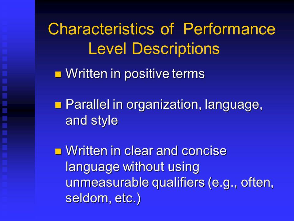 Characteristics of Performance Level Descriptions