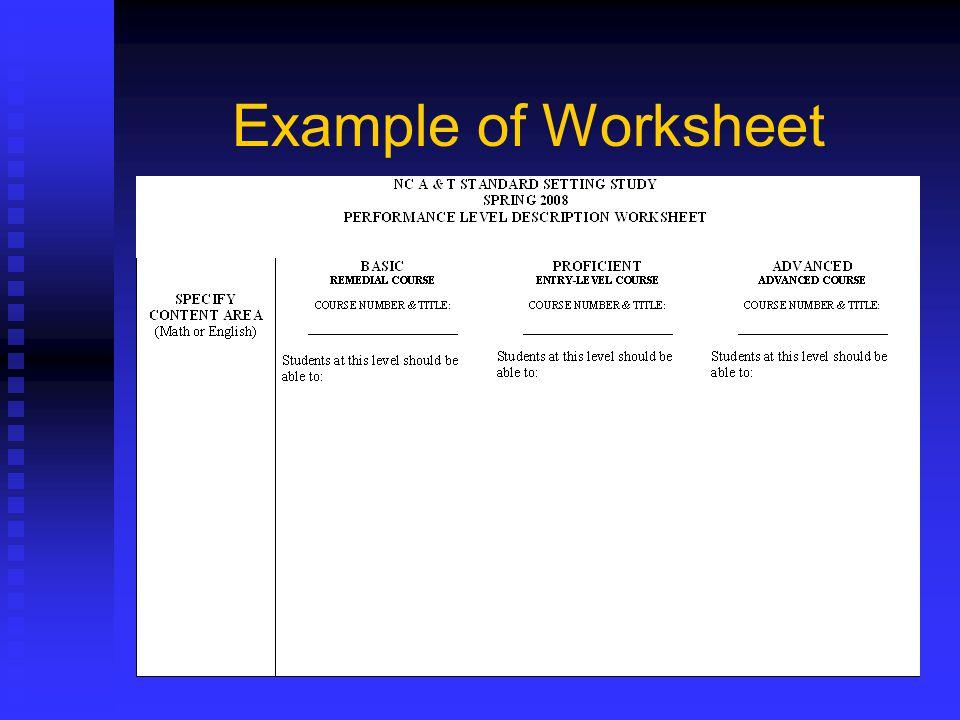 Example of Worksheet