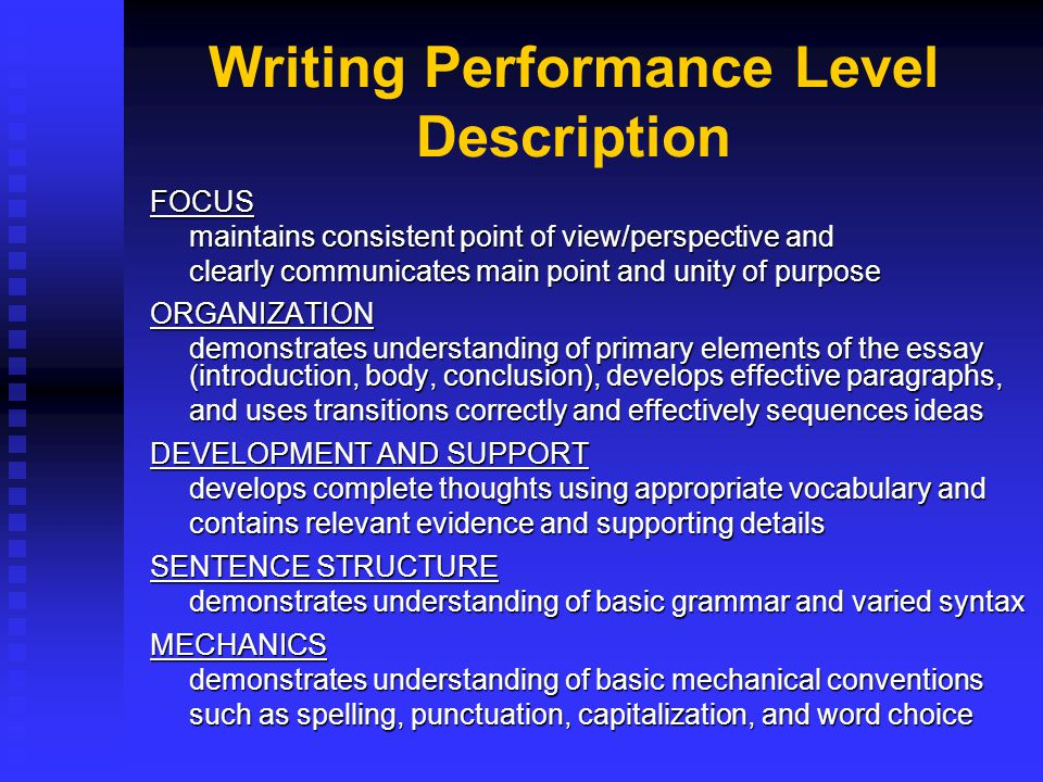 Writing Performance Level Description