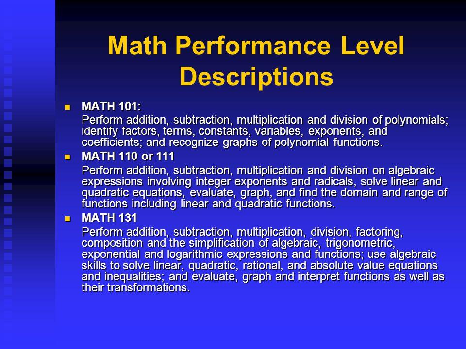 Math Performance Level Descriptions