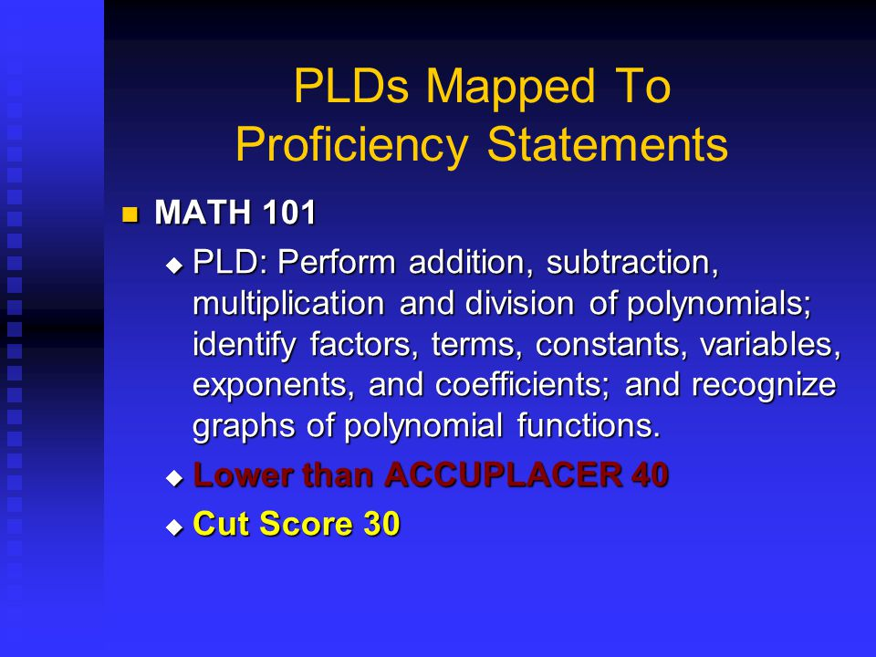 PLDs Mapped To Proficiency Statements