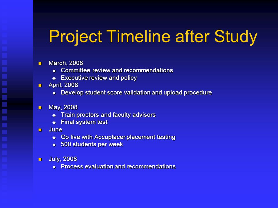 Project Timeline after Study