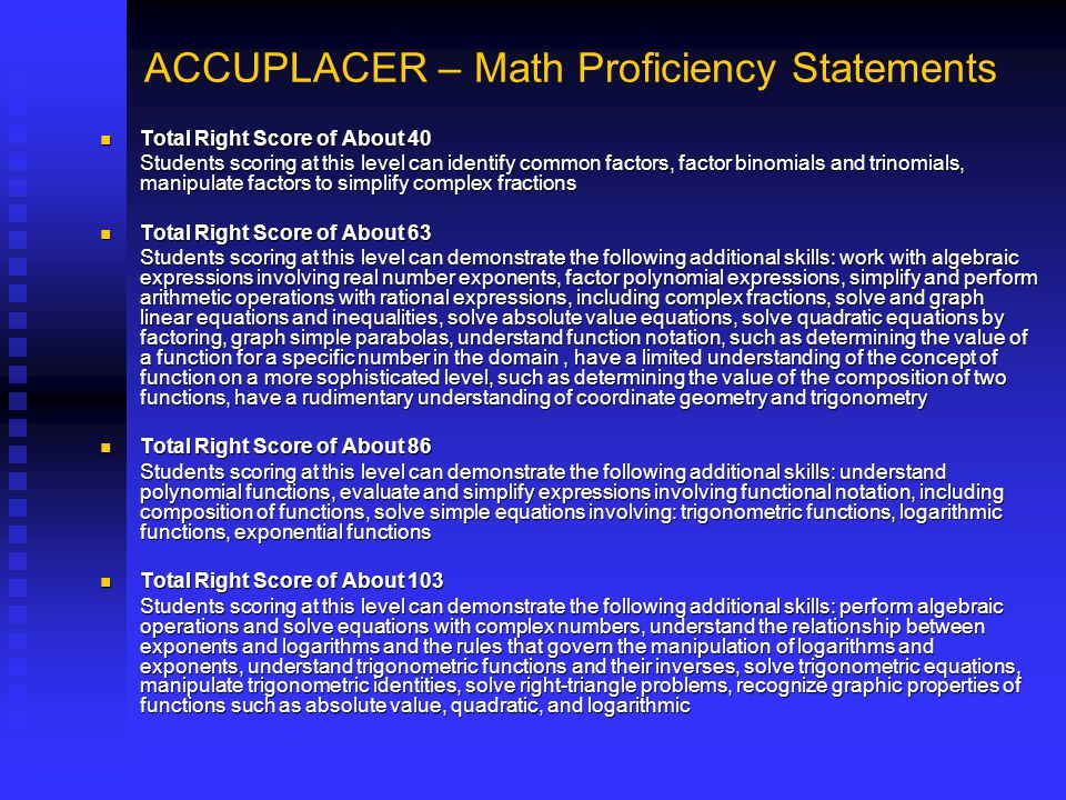 ACCUPLACER – Math Proficiency Statements