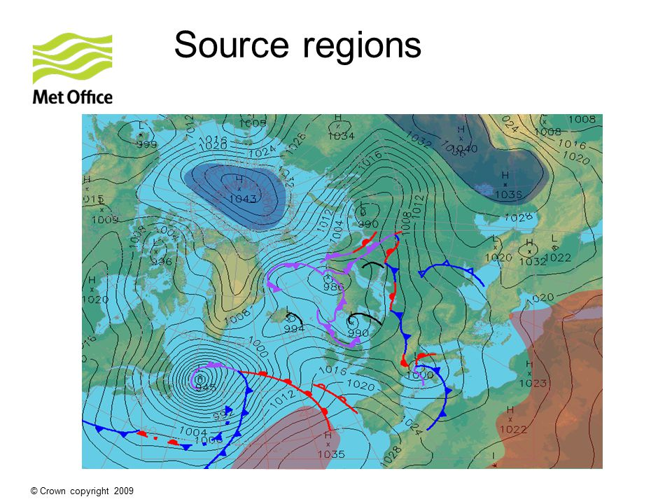 Source regions Siberia Dry, Warm in summer but Cold in winter