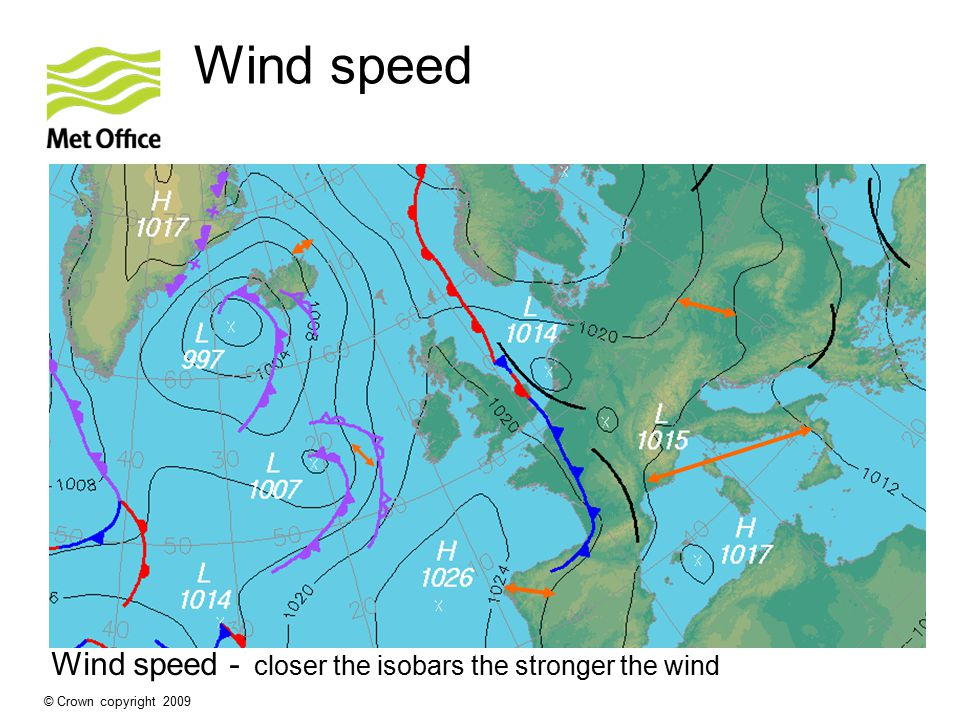 Wind speed - closer the isobars the stronger the wind
