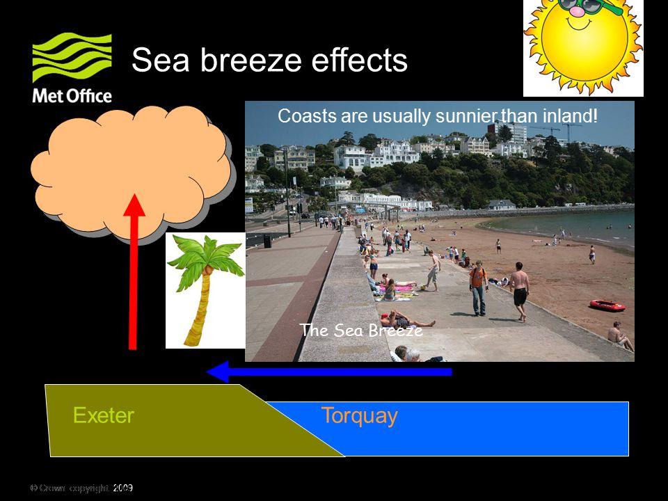 Sea breeze effects Exeter Torquay
