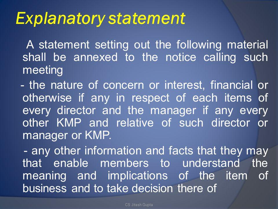 Explanatory statement