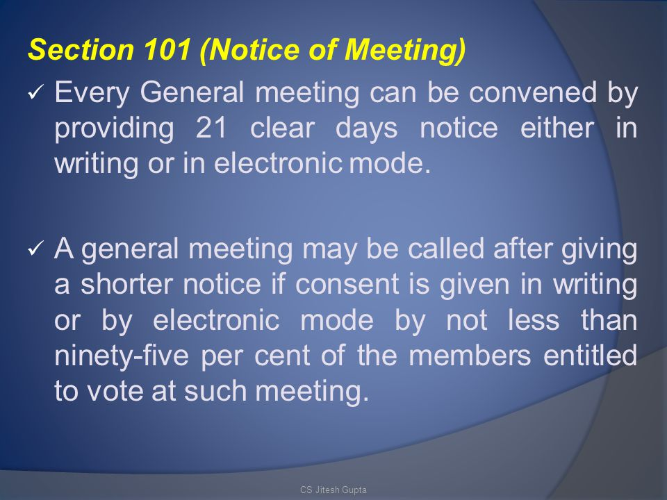 Section 101 (Notice of Meeting)