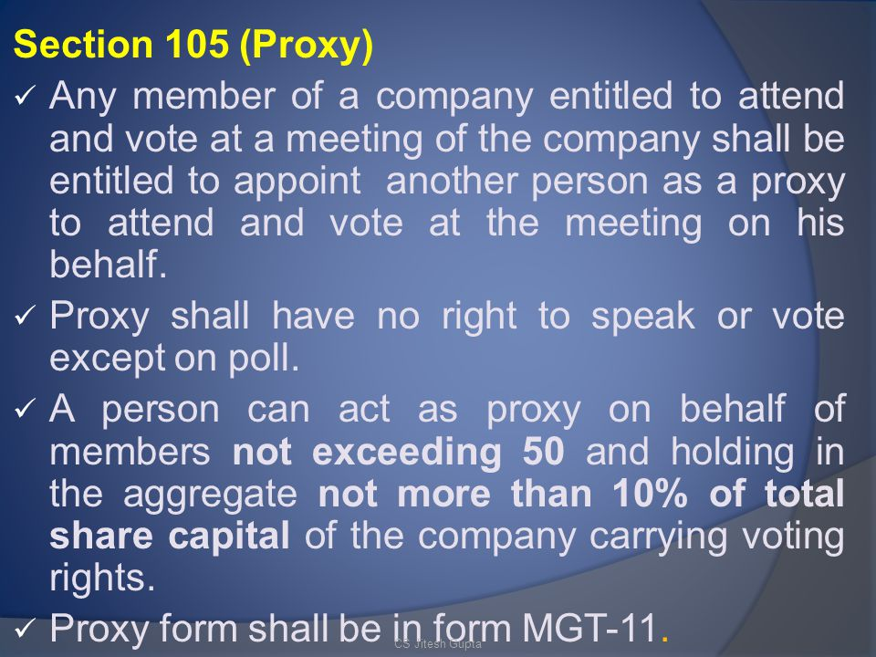 Proxy shall have no right to speak or vote except on poll.