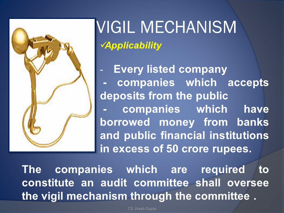 VIGIL MECHANISM - companies which accepts deposits from the public