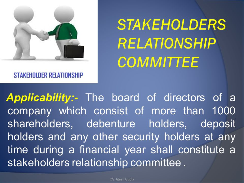 STAKEHOLDERS RELATIONSHIP COMMITTEE