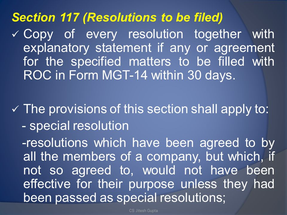 The provisions of this section shall apply to: - special resolution