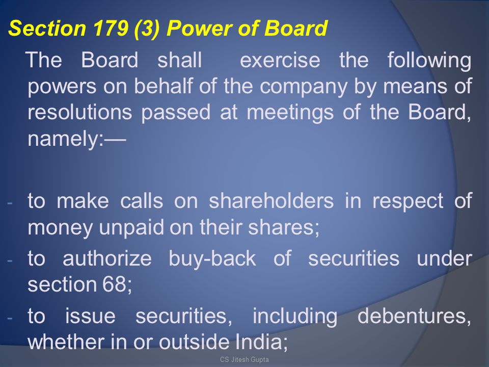 Section 179 (3) Power of Board