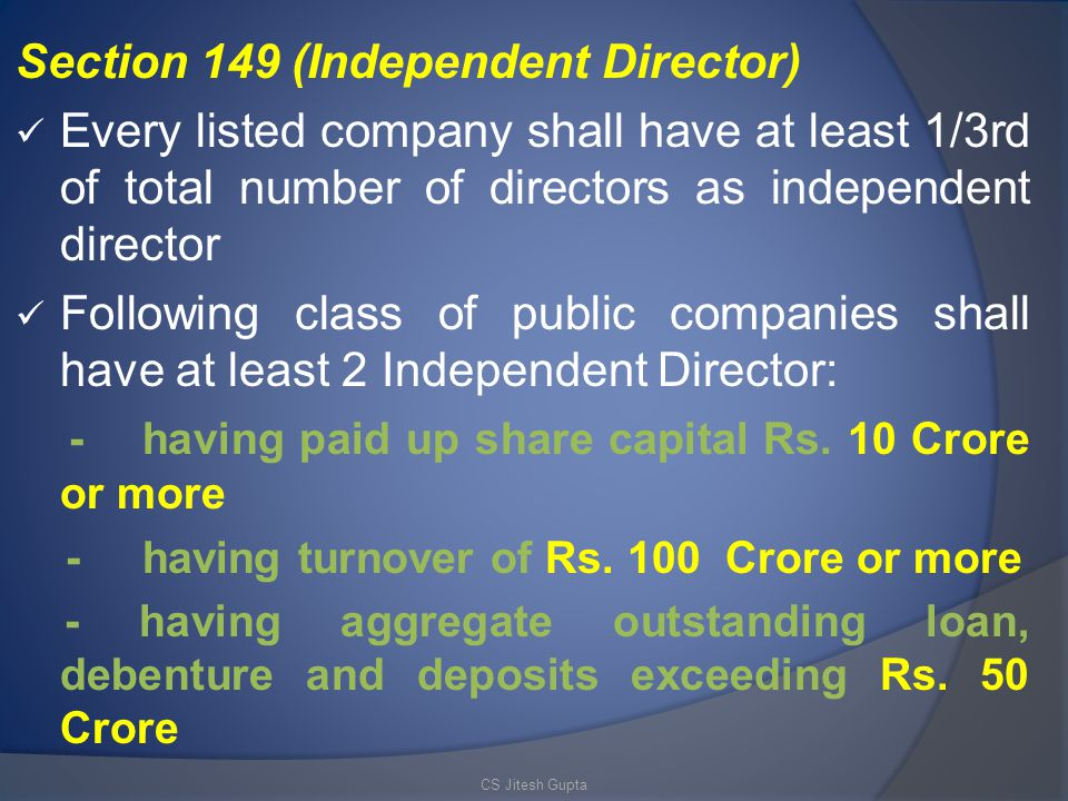 Section 149 (Independent Director)