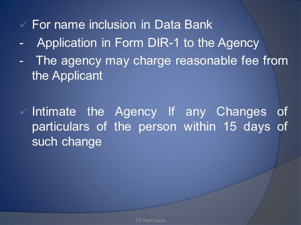 For name inclusion in Data Bank